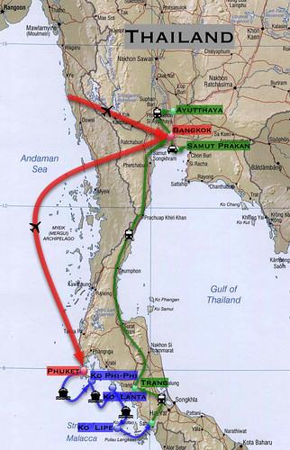 Thailand trip map