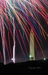 Two for the Show (dyoshida) Tags: birthday longexposure nightphotography two inspiration monument night dc washington nikon display fireworks capital views happybirthday 4thofjuly washingtonmonument scape independenceday memorialbridge rocketsredglare standtall d300 washingtondcusa 5photosaday happybirthdayamerica districtofcoumbia twofortheshow dyoshida