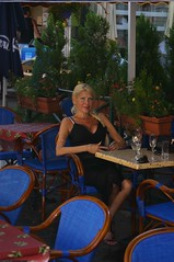 Michele at a cafe in Apt (California Will) Tags: france sexy beauty apt femme blond blonde belle michele provence elegant cleavage bellezza sheer blackdress godess decollete mymuse lgante
