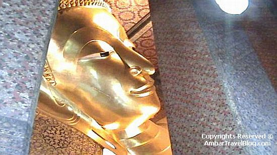 The Head of the Reclining Buddha at the Wat Pho
