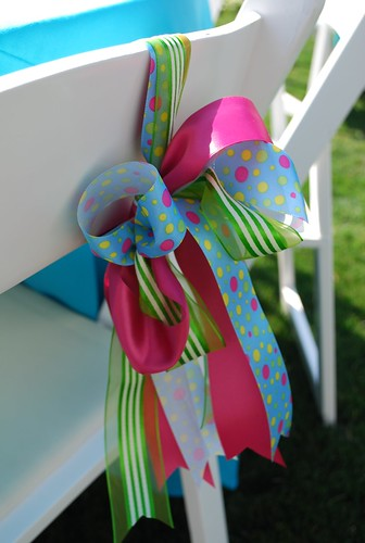 colorful ribbon wedding chair decorations