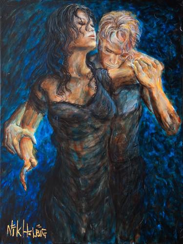 Romantic painting of lovers-nik helbig