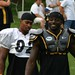 James Harrison and Santonio Holmes at Steeler Training Camp 2009