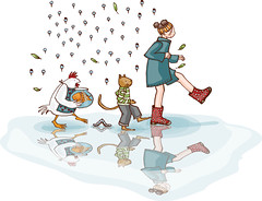 girl in the rain (madelart) Tags: blue red brown fish cute green chicken leaves rain yellow illustration cat children puddle boots bowl caterpillar waterreflection