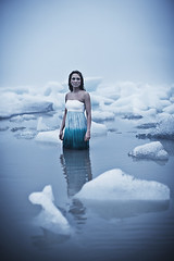 Ice Cold (LalliSig) Tags: blue summer portrait woman white black cold green ice water girl rain fashion fog iceland wind gray portraiture submerged icebergs