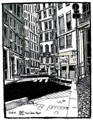 Place Croix-Paquet, Lyon - France (bruno molliere) Tags: sketch croquis molliere randocroquis randocroqueur