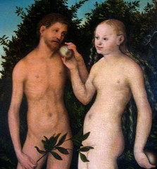 Adam and Eve by Lucas Cranach, 1533 - detail