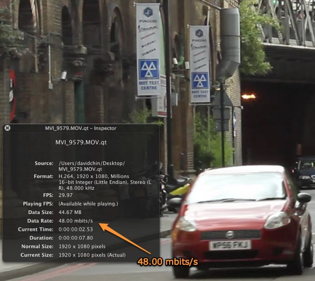 Canon 7D data rate -- 48.00 mbits/s