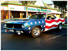 PATROTIC  - 1972   Plymouth  Barracuda * Explore # 498 (Bob the Real Deal) Tags: 1971 kodak plymouth 1970 1972 redwhiteandblue barracuda plymouthbarracuda flagcar patroticcars patroticcar flagcars