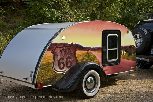 Route 66-themed teardrop trailer