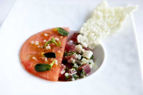 Tartare of Hamachi, Yellowfin tuna and watermelon with Mirin, Verjus, Daikon Radish and Ginger
