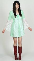 vintage lace bell sleeve mini dress (Exile Vintage) Tags: green fashion vintage clothing lace retro bow 70s hippie etsy 1970s boho oldage sheer minidress vneck vtg