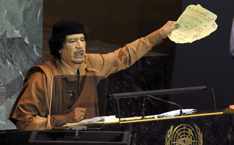 Libyan leader Muammar Gaddafi addressed the United Nations General Assembly for the first time on September 23, 2009 in New York. by Pan-African News Wire File Photos