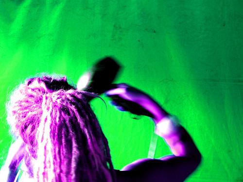 Hair stylist in green