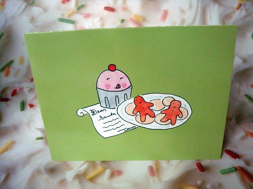 New Holiday Card: Cuppie with Santa's cookies!