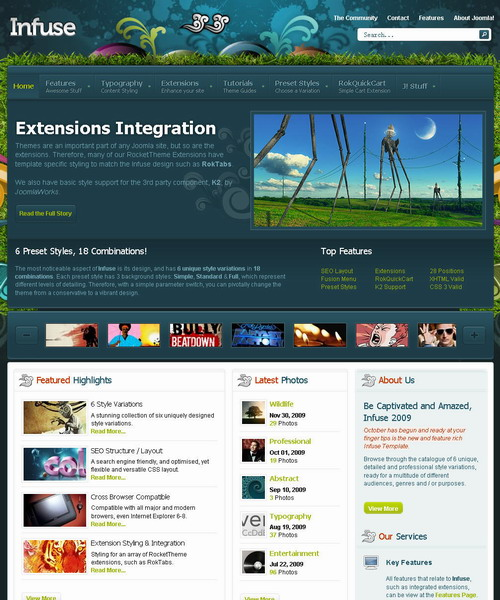 Infuse October 2009 Joomla Template
