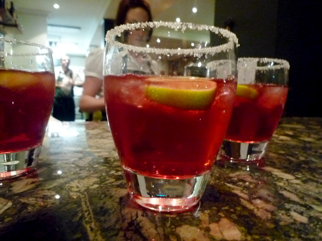 Vodka, pomegranate juice, lime
