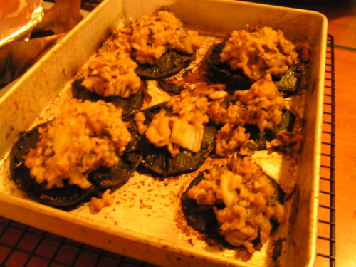 Stuffed and roasted portabellos