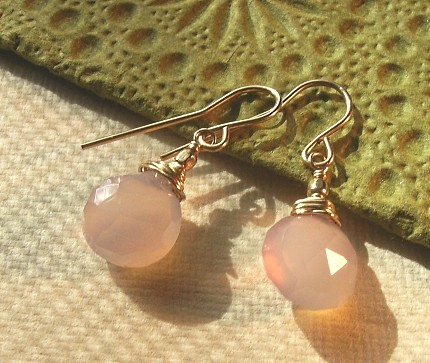 Simulated Chalcedony & Gold Filled Earrings