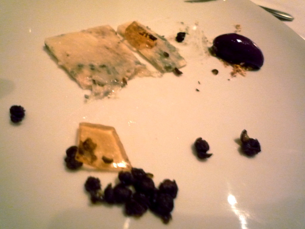 Papillon Roquefort cheese with honey jelly, capers and dukkah