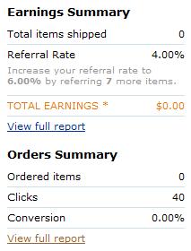Na své osobní stránce Amazon Associates dnes mohu sledovat, kolikrát kdo na můj doporučující odkaz (refferal link) kliknul