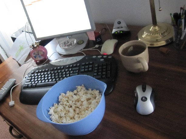 Popcorn and Hot Tea Snack