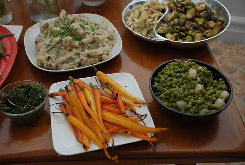 carrots and carrot top pesto, smashed potatoes, peas and pearl onion, roasted brussel sprouts and fennel