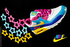 Nike Kid Kinetic (soulbridge media) Tags: pink blue girls yellow glitter kids stars sneakers nike collectible airmax 2007 airmax90 soulbridgemedia