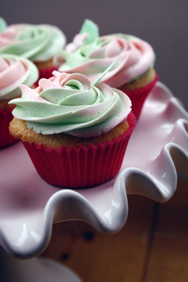 double colour rosette topped garden cupcakes