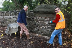 Volunteers working to complete the repointing of the Wood Lane bridge
