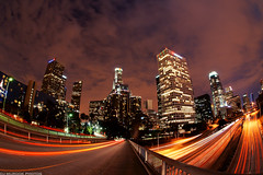 Down Town Los Angeles via Fisheye (explored front page) (dj murdok photos) Tags: longexposure urban cars la losangeles architechture downtown december traffic fisheye citylights lightstreaks tallbuildings movingclouds explored