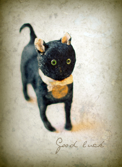 Antique black cat toy -Good luck