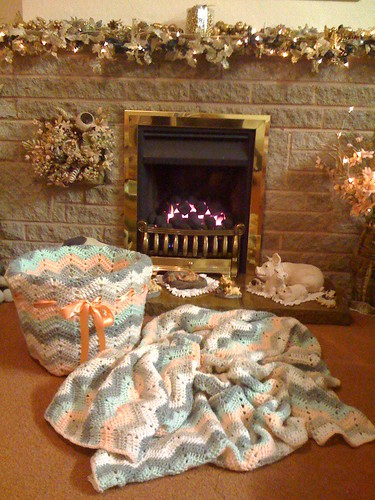 Fireside Basket - Crocheted.  With my Fireside Ripple Blanket.