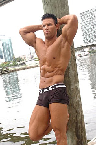 Sexy and nice muscle hunk shirtless hot muscular fitness male model