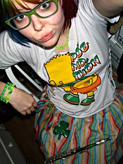 St. Patrick's Day (Megan is me...) Tags: blue red portrait orange color green colors smile up fashion rose yellow shirt self hair effects photography one diy clothing crazy rainbow eyes colorful neon pretty colours russell mckay bright cut unique awesome meg bart violet plum megan style nuclear special clothes kind fishbowl together iguana jerome colored tied piccolo tee mayhem simpson punky striped bleached kissmyass dyed stpatricksday napalm 2010 sfx rosered megface pogmothon meganisme bleachednapalmorange greenpiccolo