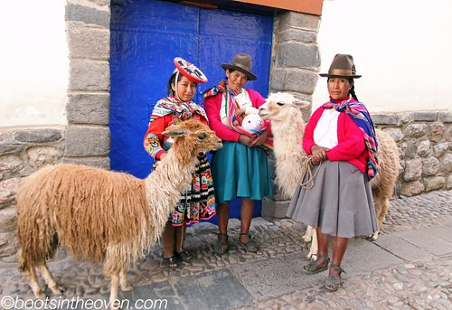 Ladies posing with alpaca