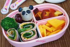 Panda with rollups toddler bento (sherimiya ) Tags: cute kid toddler panda peach ham homemade mango bento lychee rollups obento sherimiya
