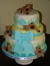teddy bear babyshower cake (sweetcakesbyrebecca) Tags: blue boy white green yellow cake bow custom babyshower tumbling teddybears babyshowercake 3tier sweetcakesbyrebecca arqyle offsettiers