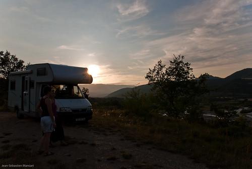 Couché de soleil sur le camping-car
