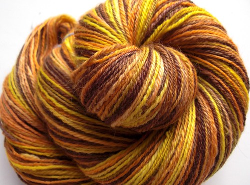 ~ 348yds navajo plied, 4.2oz70-30 merino-mohair Fallen Leaves by travelingrhinos, a gift from Chawne-6