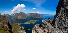 Reine Panorama (Zen Roxy) Tags: sea sky panorama mountains nature norway clouds canon landscape outdoors rocks stones north lofoten reine fiord fiords stiched lightroom moskenes reinebringen