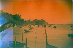 Boats (jasminfish) Tags: bridge brazil cats colors brasil boats island lomo lomography barcos mask ponte es ilha wrecked máscara vilavelha colorido lomografia gambiarra 3ponte experiência morrodomoreno redscale fujisuperiaiso100 praiadoribeiro muitascores holga135bc