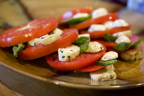 Caprese salad with homegrown tomatoes