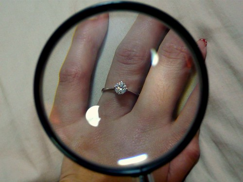 The proposal ring under a magnifying glass.