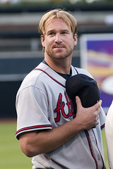 Derek Lowe during the National Anthem