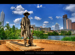 Stevie Ray at Town Lake (Apogee Photography) Tags: statue skyline austin texas austintexas townlake hdr auditoriumshores stevierayvaughan