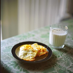 Breakfast (Inside_man) Tags: stilllife slr 120 6x6 film colors breakfast mediumformat milk colorful bokeh bronicas2 portravc zenzabronicas2 pouchedeggs
