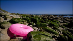 Oddly coloured rock. (*Hairbear) Tags: pink blue sea summer sky hot green water coast rocks day angle wide sunny august ring inflatable dorset 2009 lyme regis sigma1020mm