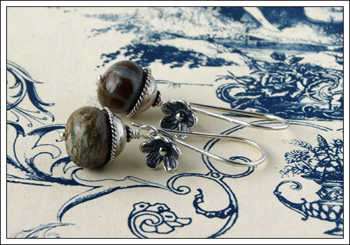 Gemstone & silver earrings