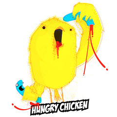 hungry chicken (mareaneus) Tags: art chicken argentina illustration blood kill drawing character eat hungry worm pollo vector gusano sangre ilustracion vectorial personaje mareaneus